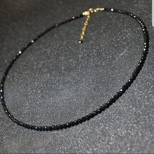 Natural Stone Black Crystal choker necklace